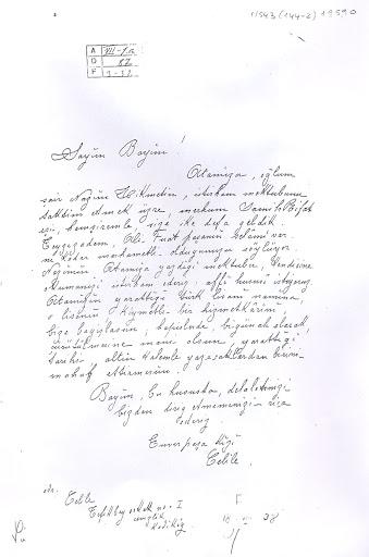 Mektup Örnekleri - Tarihi Mektup (N.Hikmet'ten Atatürk'e)