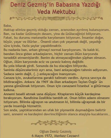 Deniz Gezmiş'in babasına veda mektubu