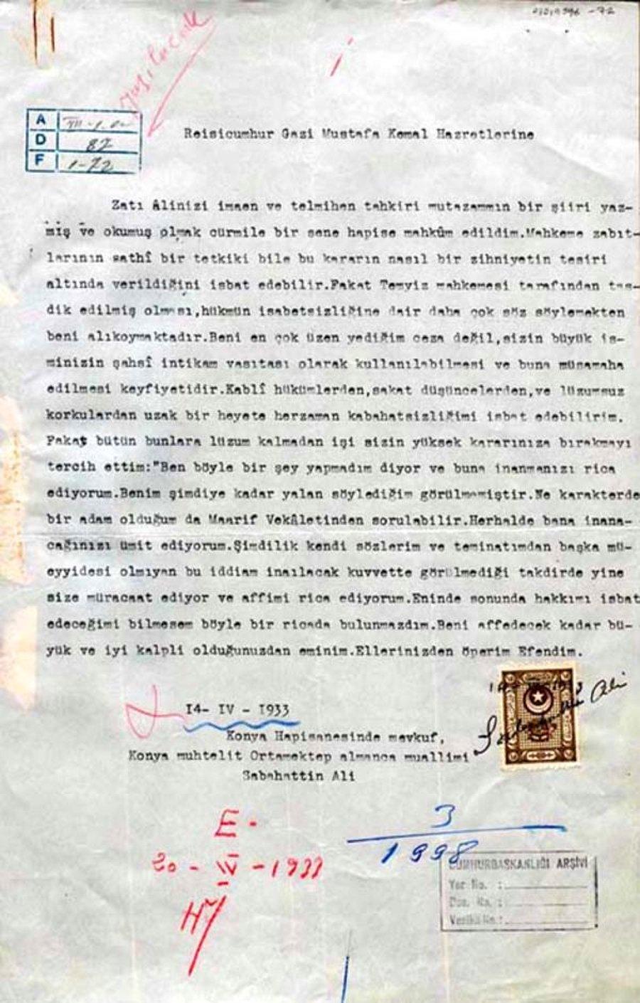 sabahattin aliden atatürke mektup